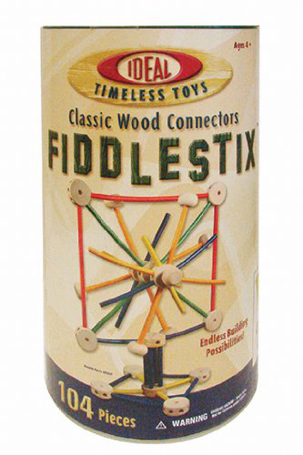 Poof-slinky 9104FB Fiddlestix Classic Wood Connector Set With Storage Canister, 104-PIECES